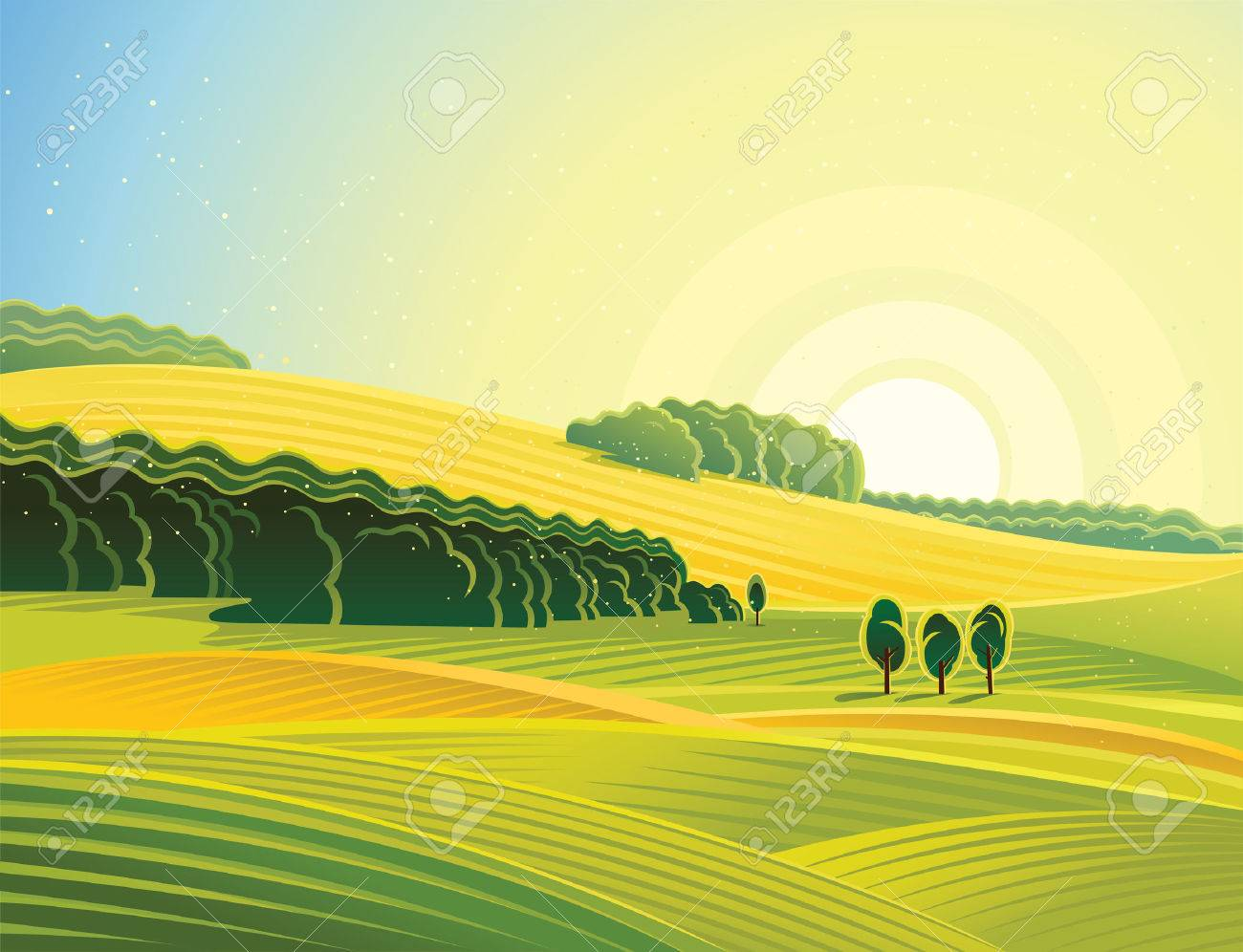 Rural landscape with field. Morning mood. - 53106208