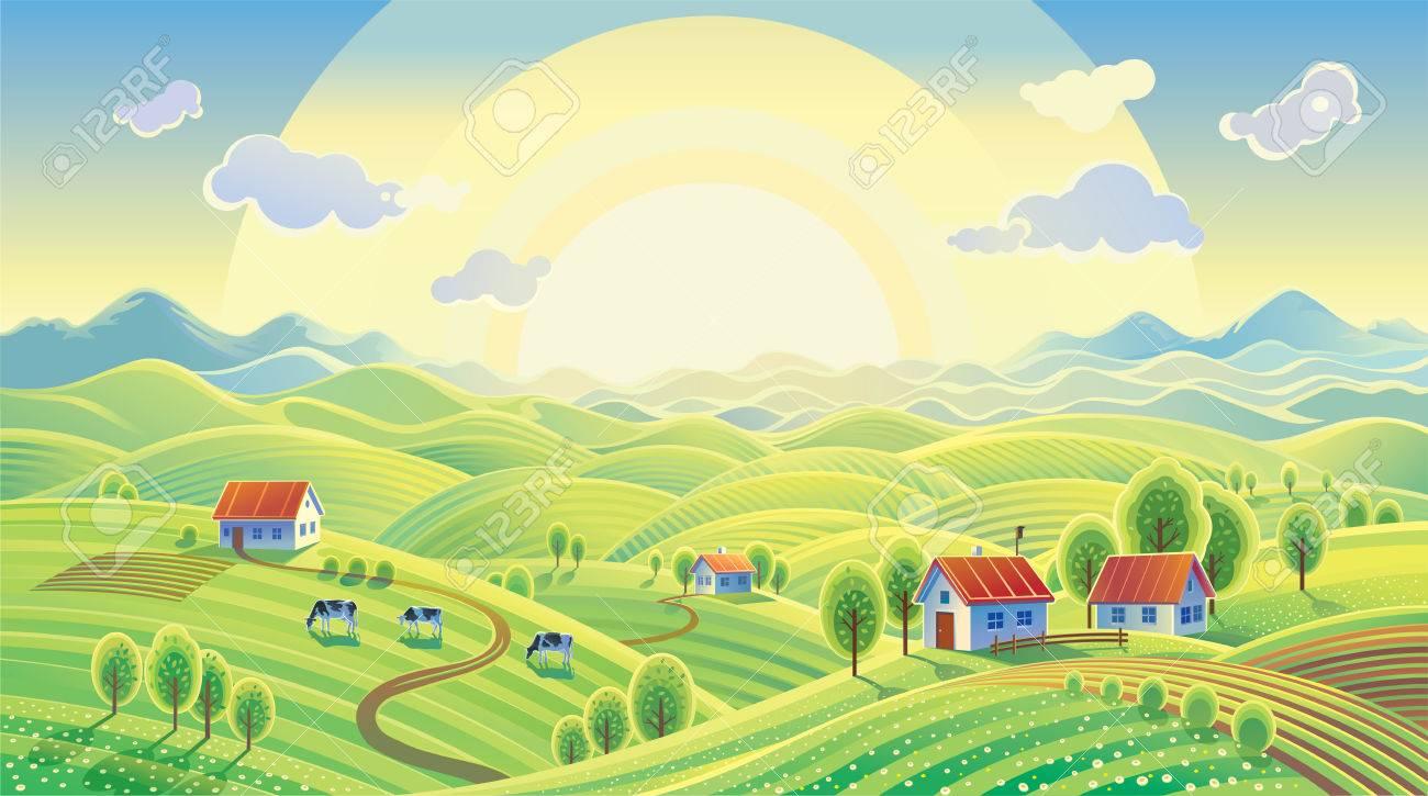 Summer rural landscape with village. - 53968163