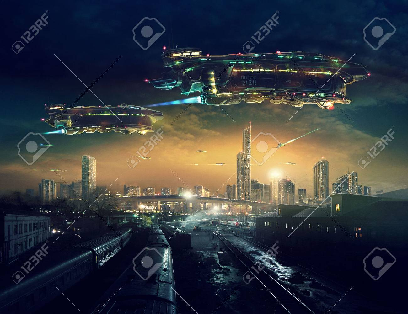 Urban landscape of post apocalyptic future with flying spaceships. Life after a global war. Digital art. - 56876605