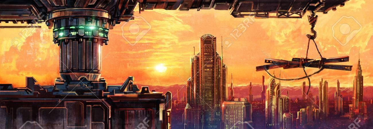 Fantastic evening city of the future. Digital Art. - 56876606