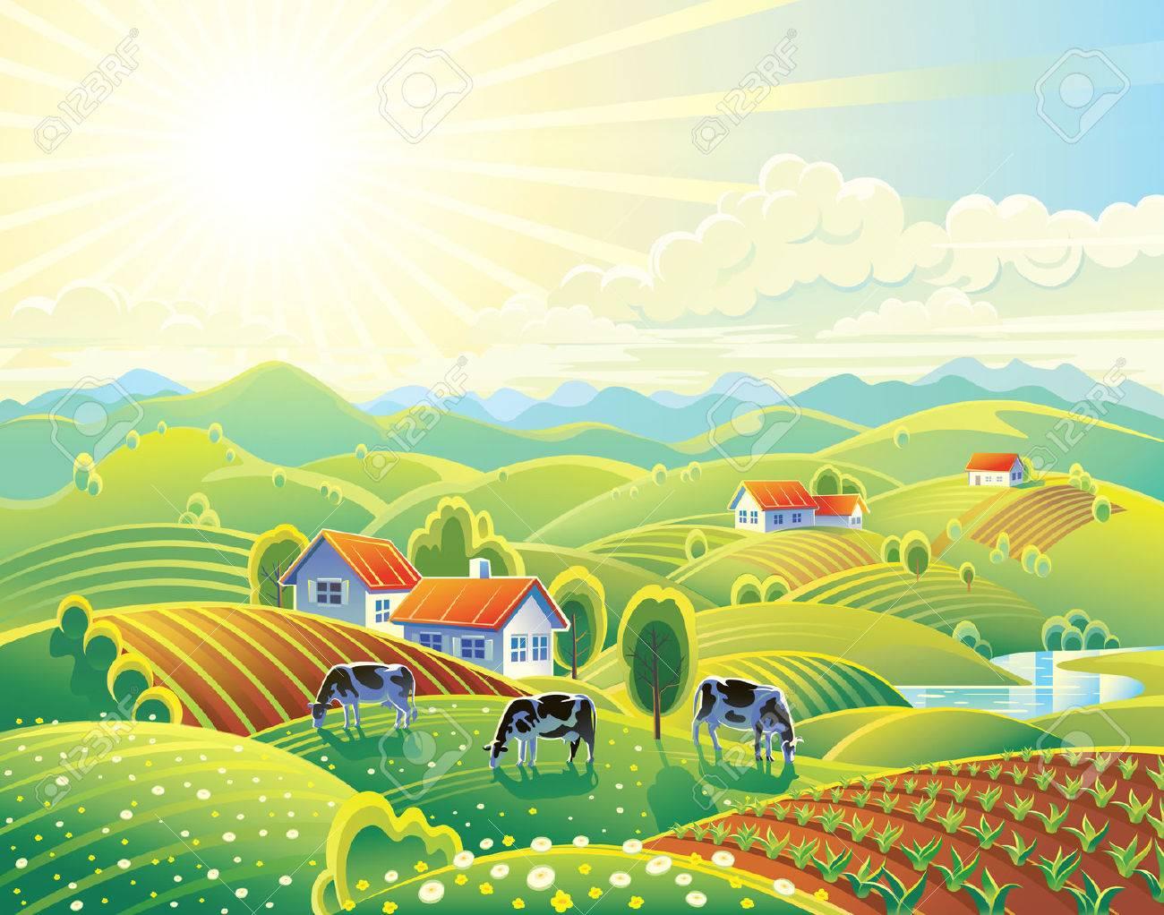 Summer rural landscape with village. - 60005886