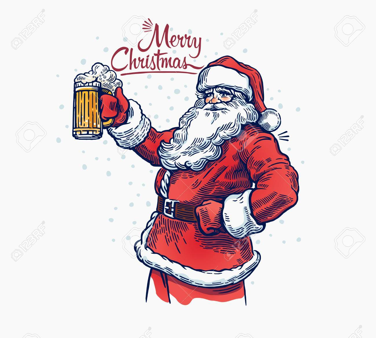 Jolly Santa Claus with a beer in hand. Illustration - 67968795