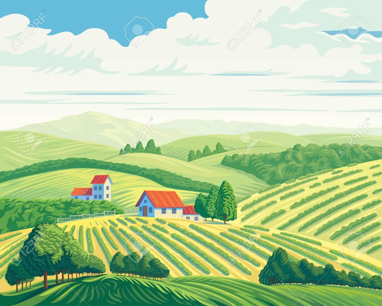 Rural summer landscape with hills and village. - 75170939