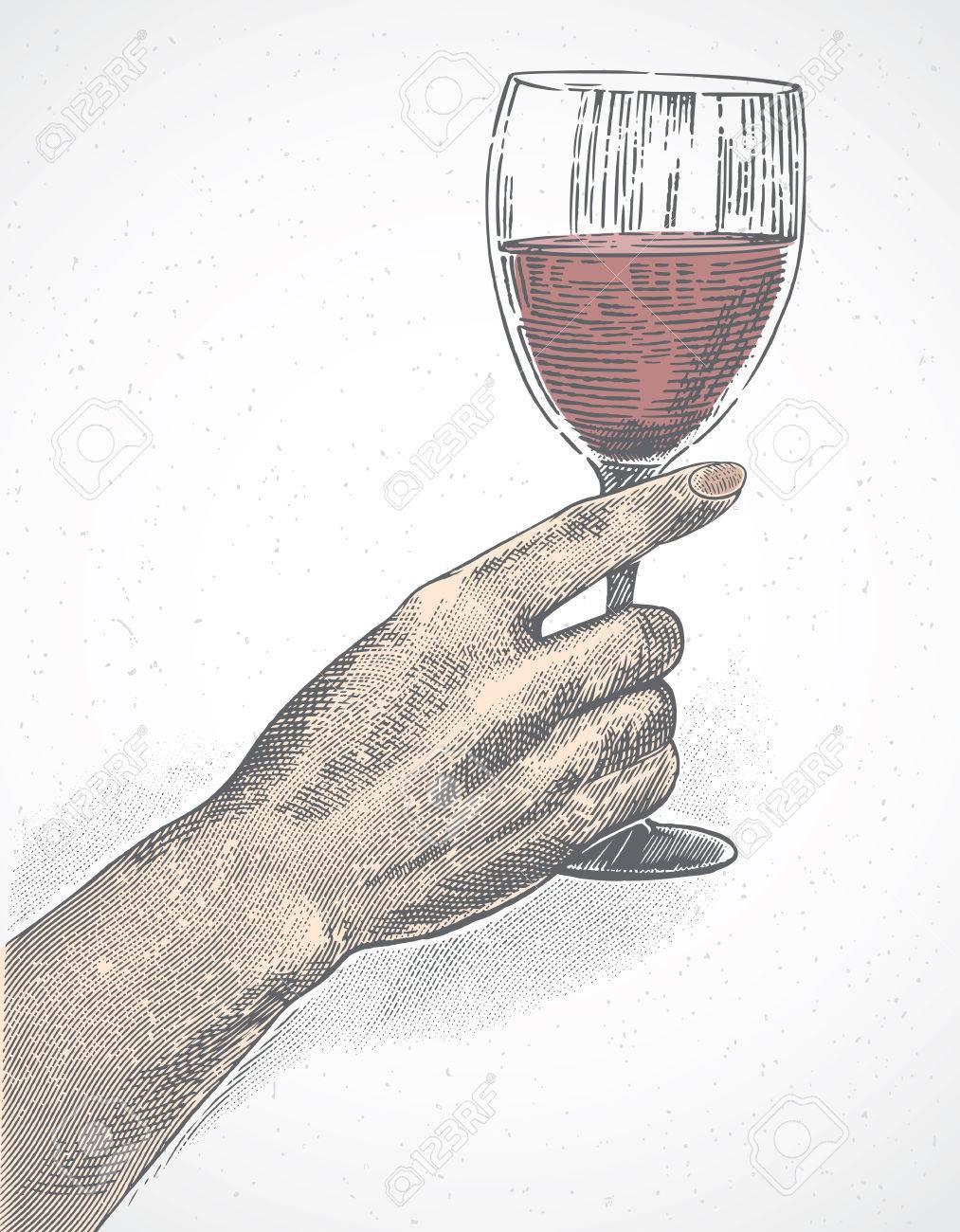 La main féminine tient un verre de vin, l'illustration est faite dans le style de la gravure.