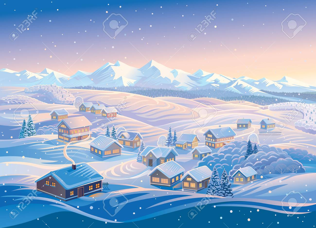Winter landscape with a village and hills, montane forests in the snow. Vector illustration. - 96072489