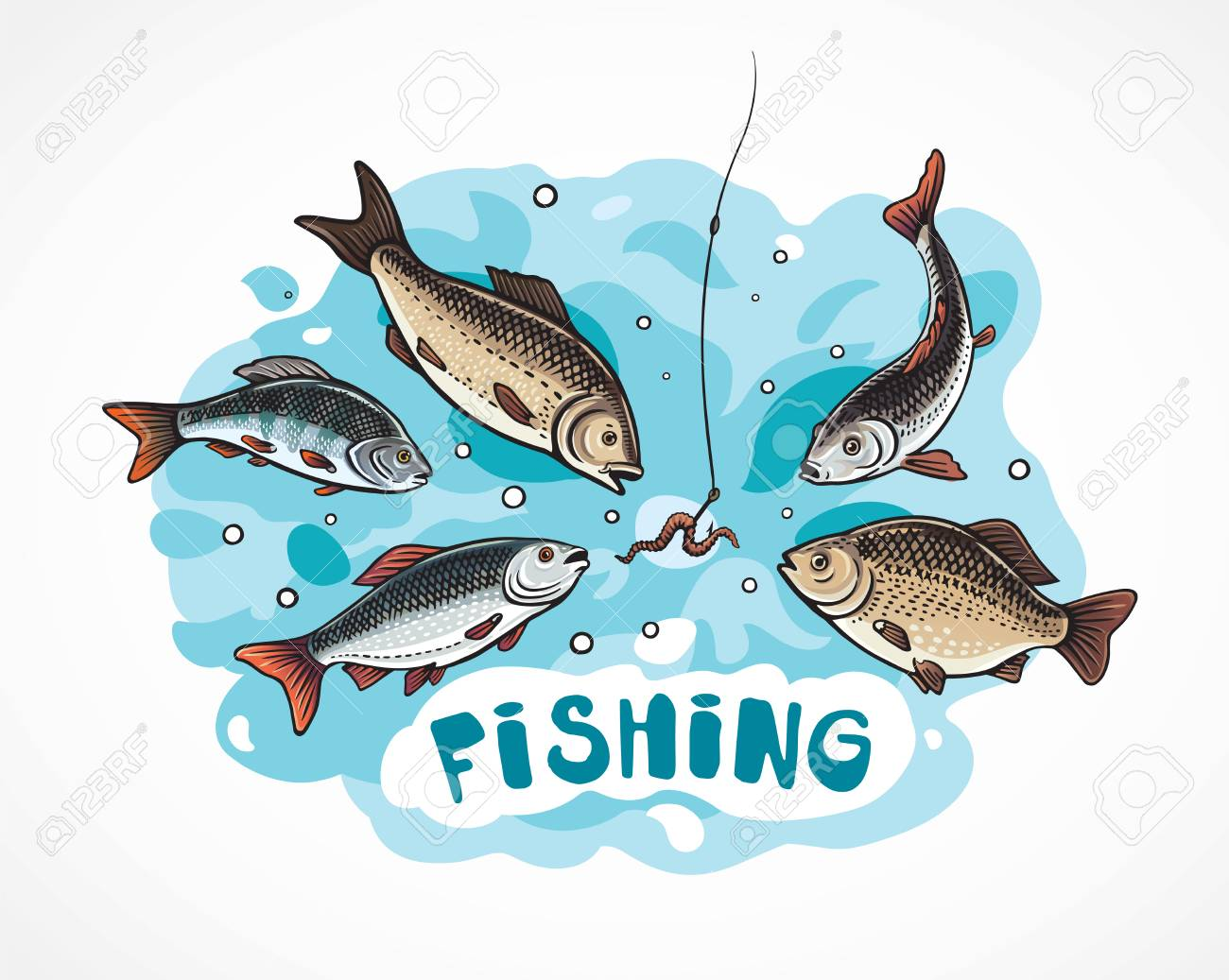 Illustration about fishing in cartoon style, hungry fish attack to the a hook (bait). - 106430153