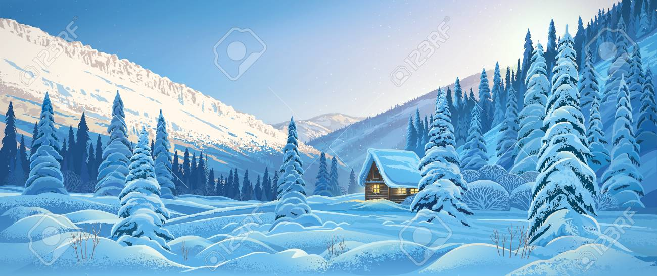 Winter mountain landscape with a hut, dawn in the mountain forest. - 120507540