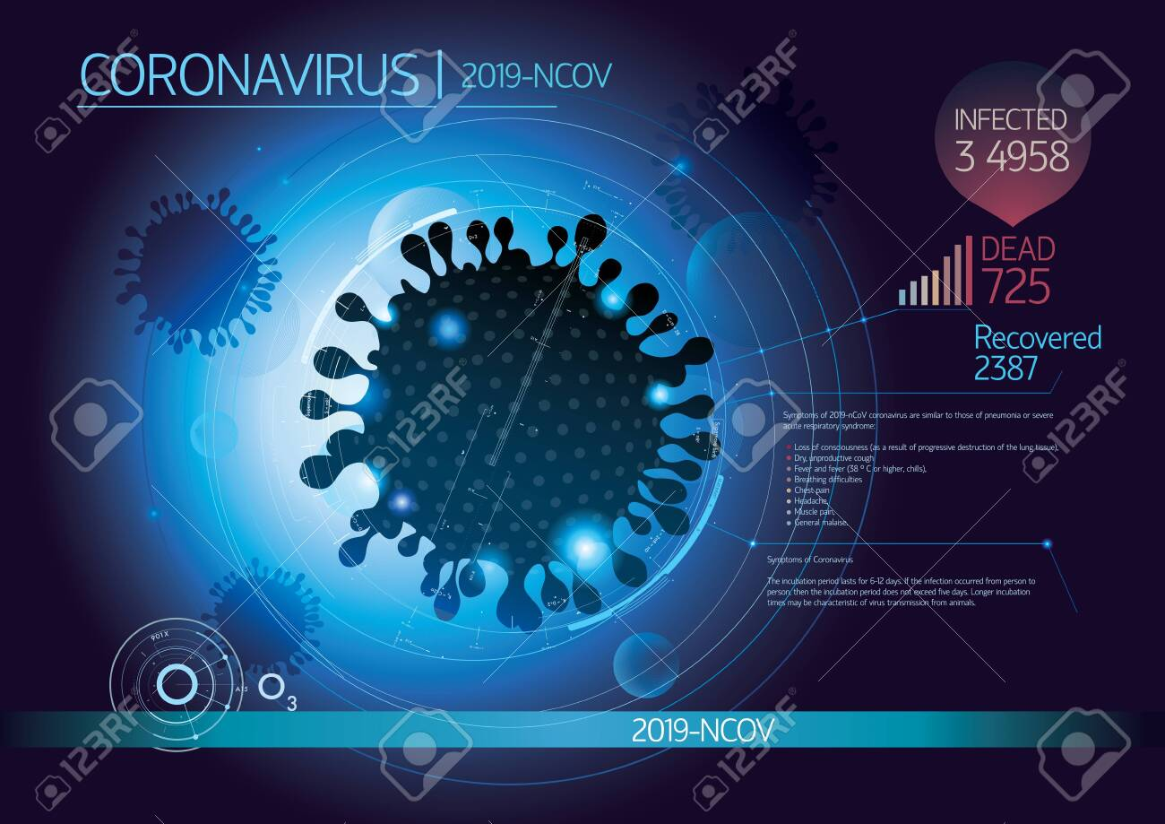 Graphic layout with the silhouette image of a coronavirus, as well as with the addition of design and infographic elements. - 141556529