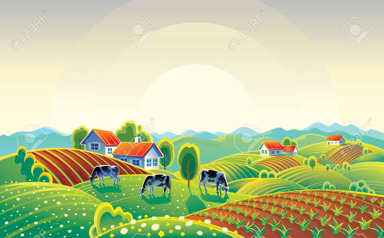 Summer countryside landscape with herd of cows and village. - 159216467