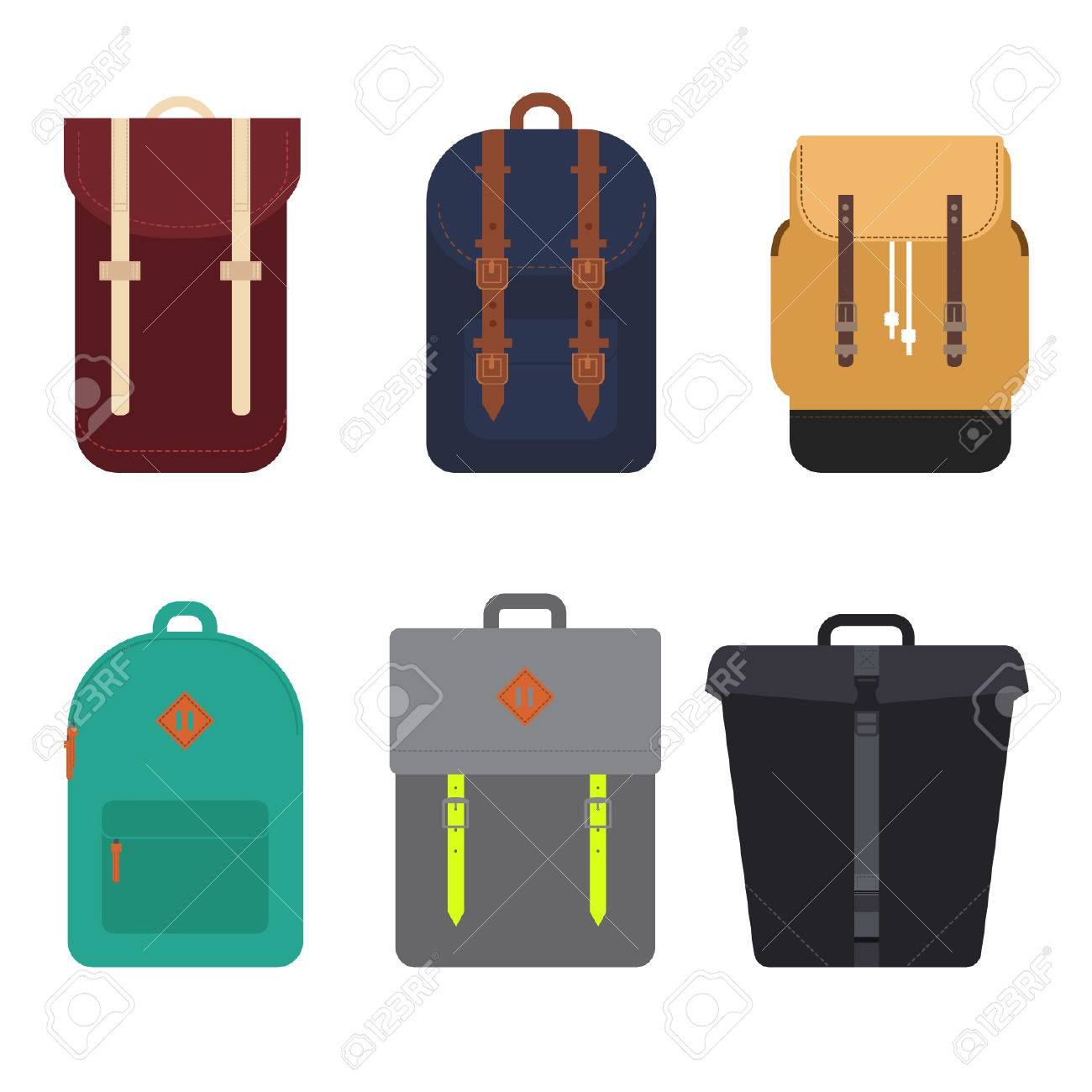 afc987452 Set of trendy hipster backpacks isolated on white background, vector  illustration. Stock Vector -
