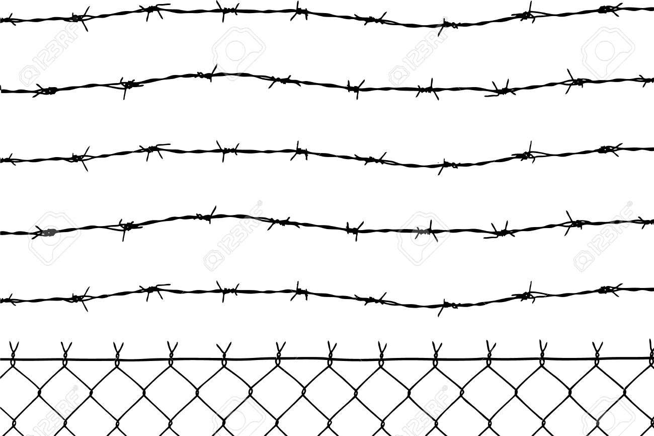 wired fence with five barbed wires Stock Vector - 2835726
