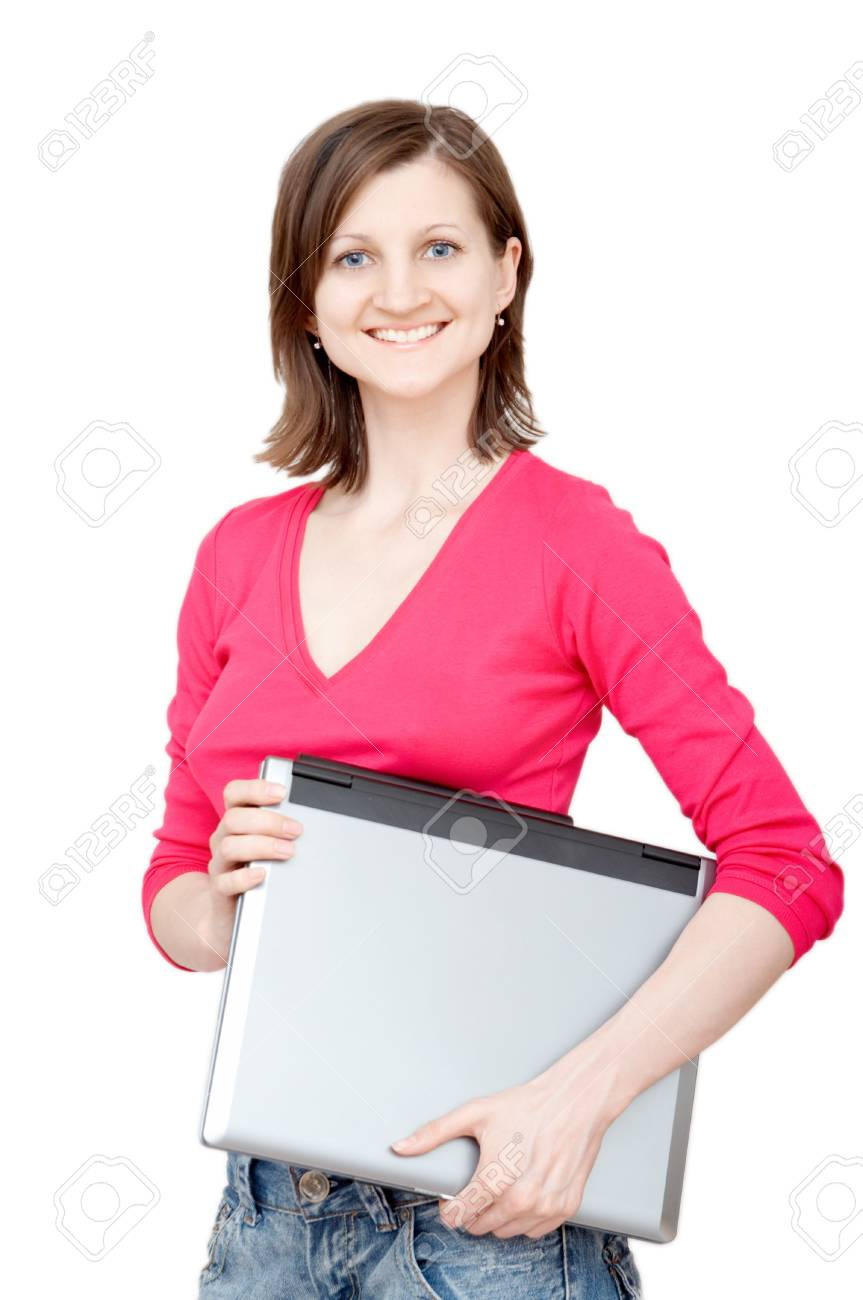 smiling woman holding laptop Stock Photo - 3094332