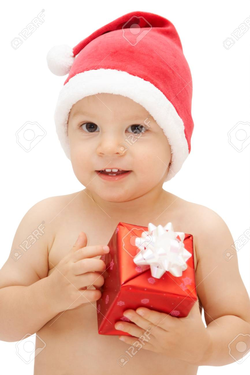 baby in santa claus cap with gift Stock Photo - 3691004 978d0b1369c