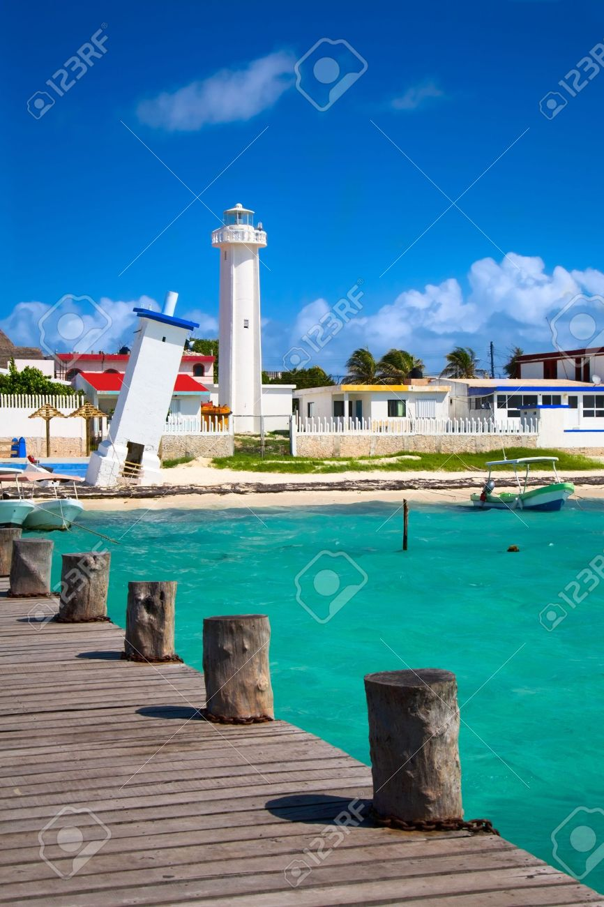 old tilted and new lighthouses in Puerto Morelos near Cancun, Quintana Roo, Mexico Stock Photo - 6044871