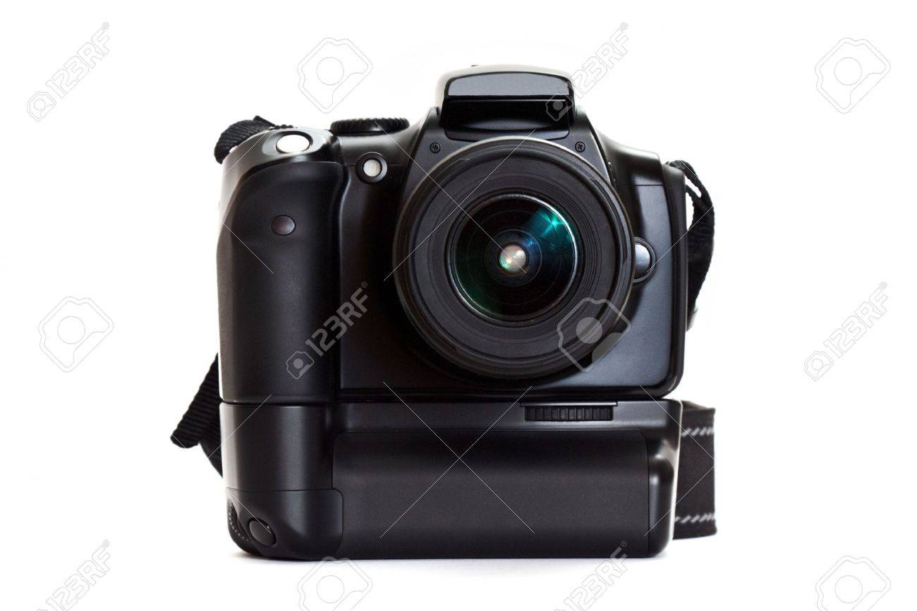 digital photo camera with battery grip isolated on white background Stock Photo - 6595589
