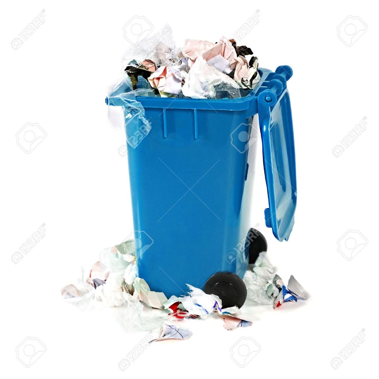 garbage bin overflowing blue garbage bin stock photo