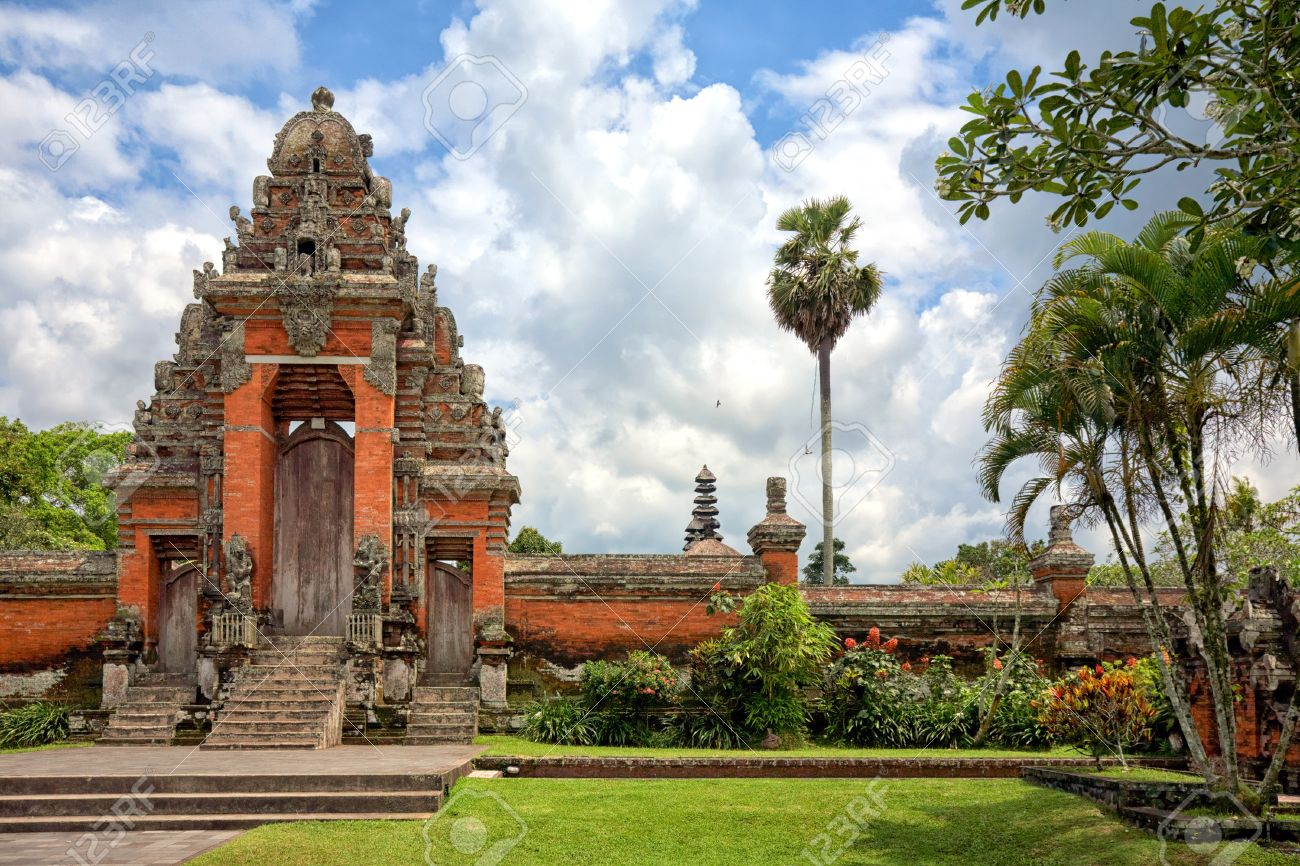 Main Entrance Gate To Taman Ayun Temple Bali Indonesia Stock