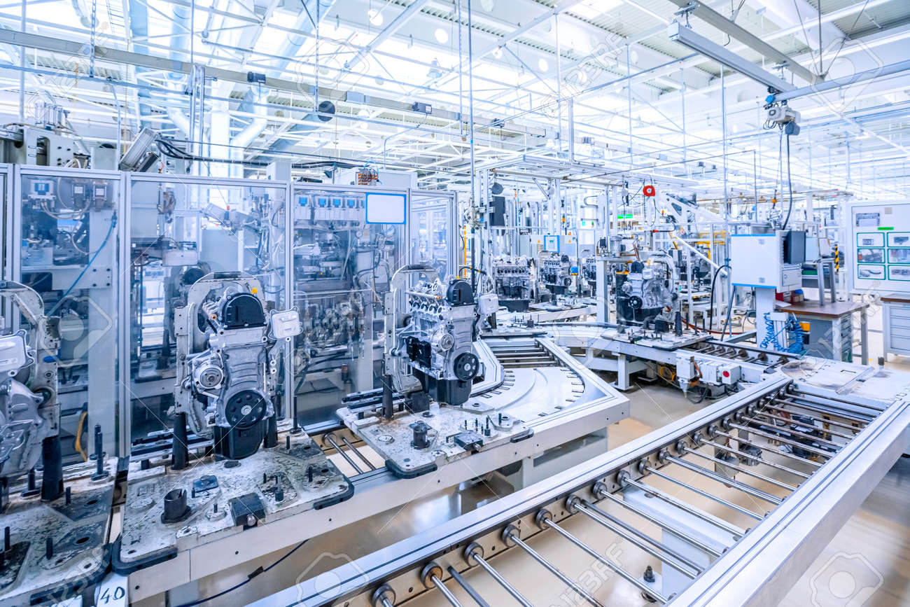 manufacturing of car engine at car plant - 159618094