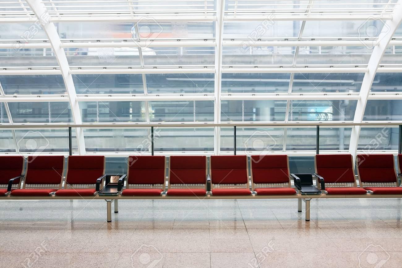 row of red chair at airport in Hongkong Stock Photo - 6142333
