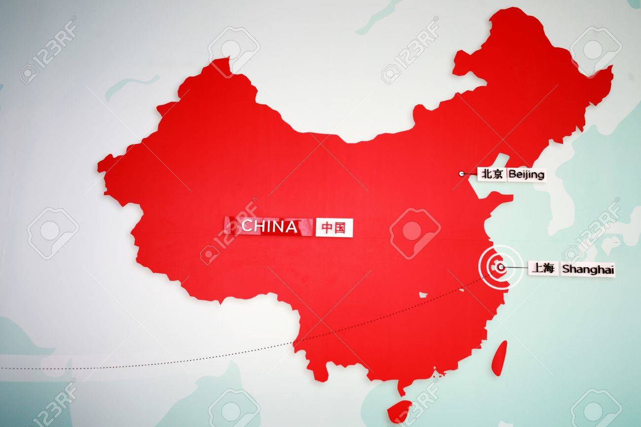 The Location Of Shanghai And Beijing On The Chinese Map Stock Photo