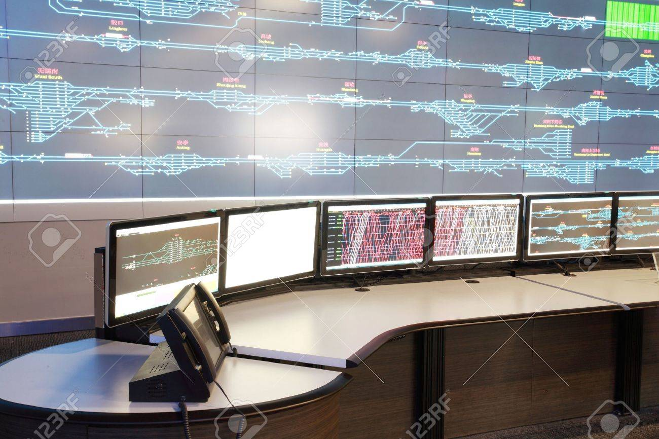 Modern electronic technology inside the control room Stock Photo - 12591219