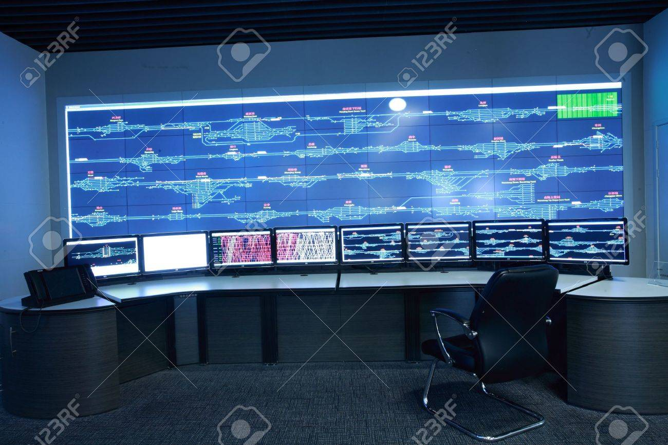 Modern electronic technology inside the control room Stock Photo - 12591168