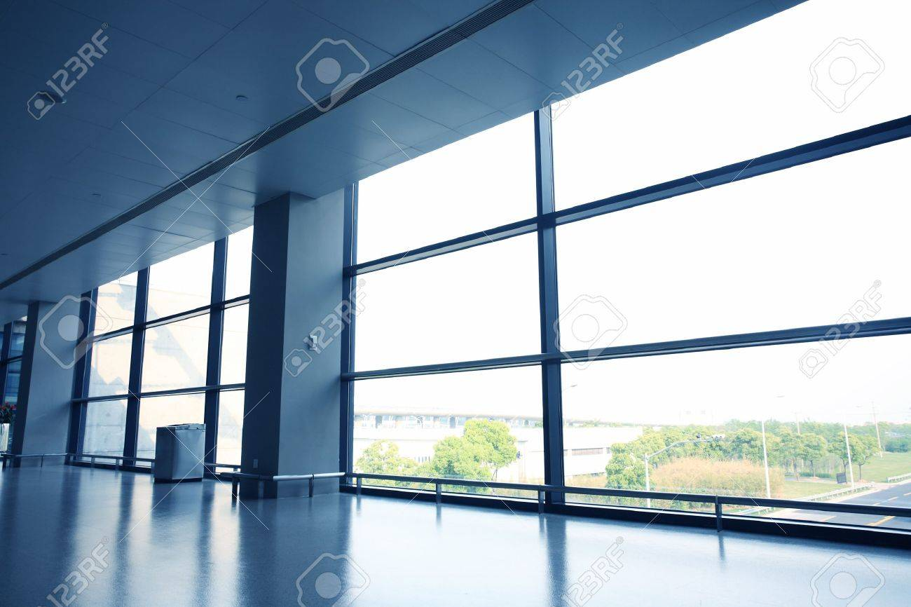 Interior office windows - Stock Photo Office Interior With Glass Wall