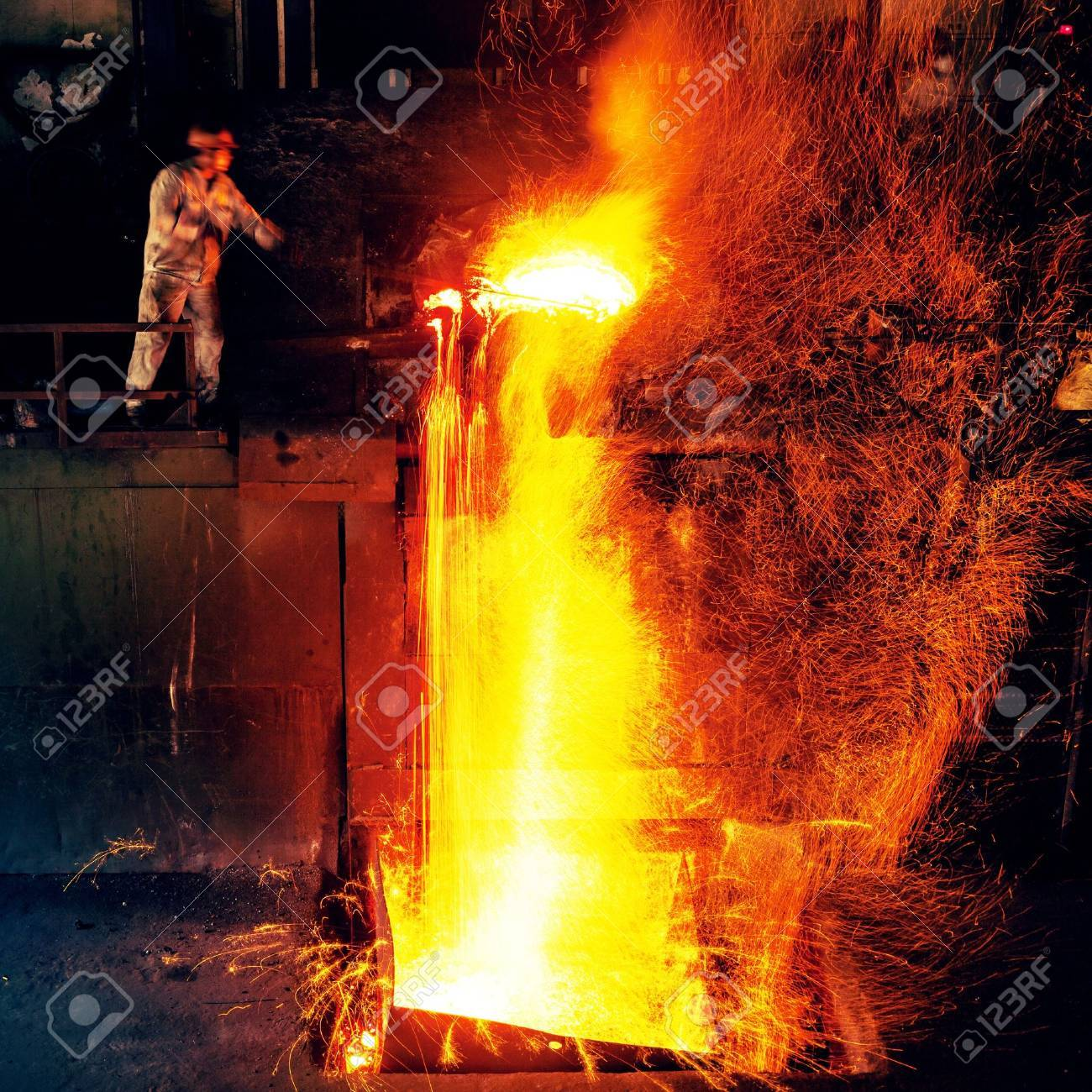 Pouring of liquid metal in open hearth workshop Stock Photo - 15142136
