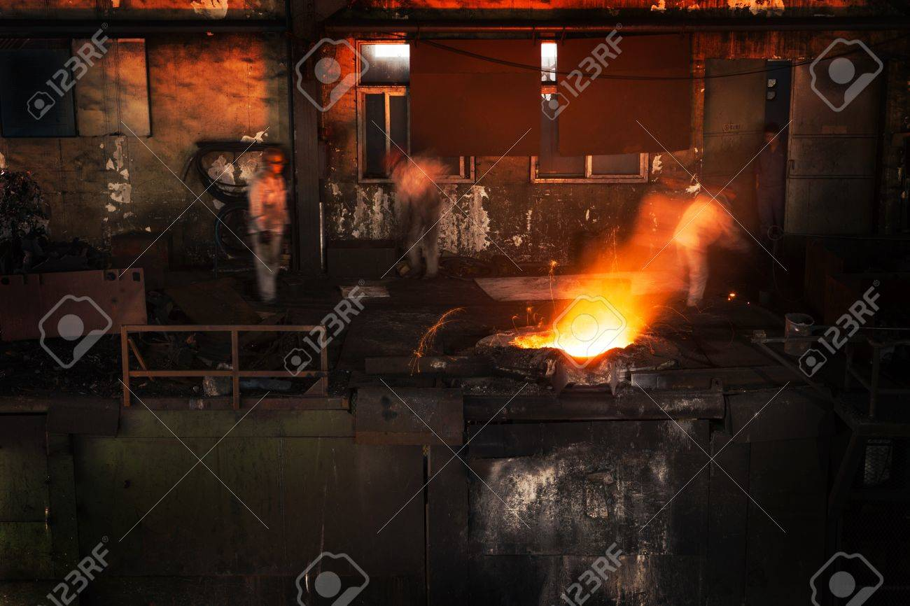 Pouring of liquid metal in open hearth workshop Stock Photo - 17566518