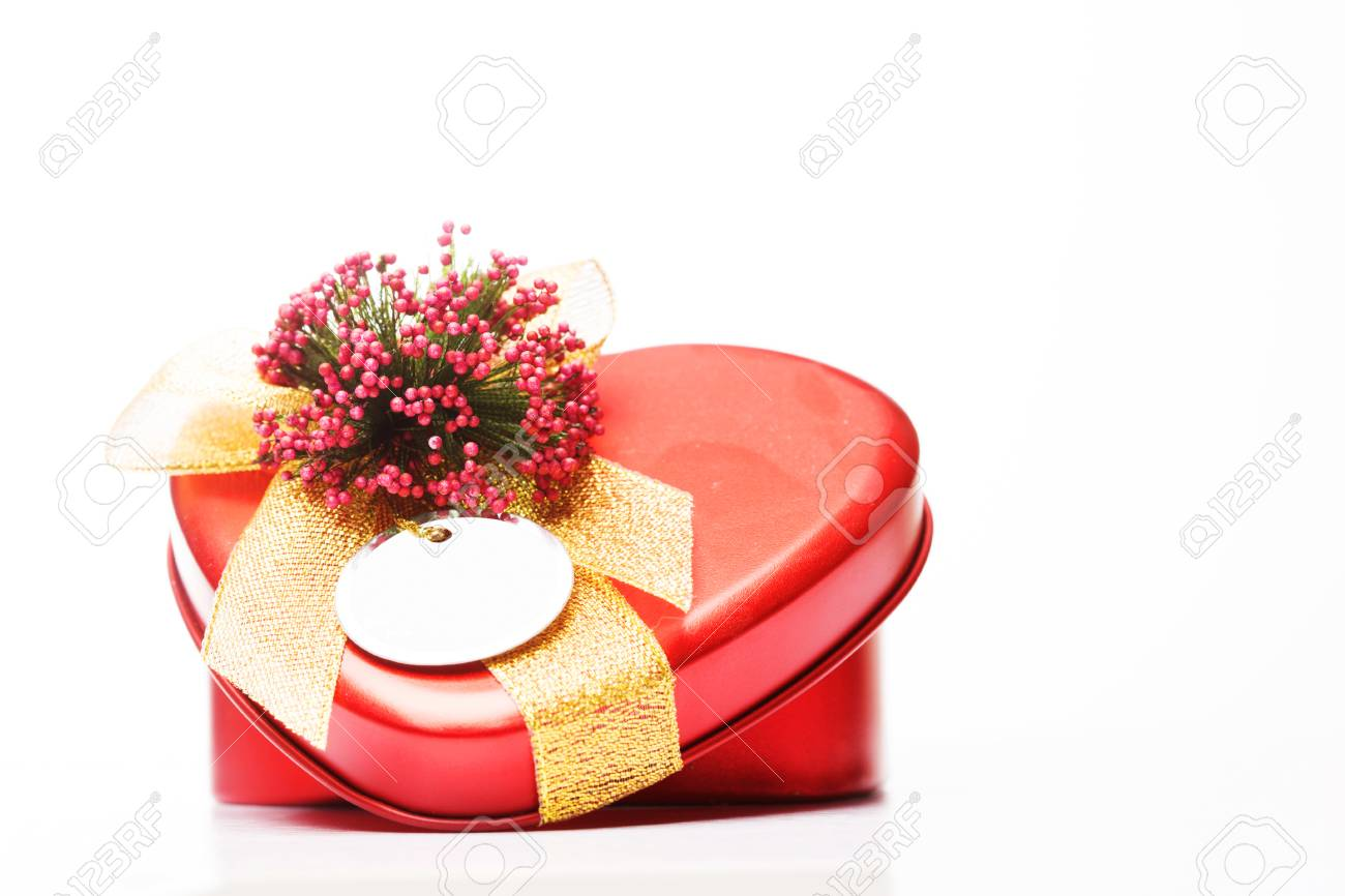 Heart Shape Valentine Gift Box On White Background Stock Photo