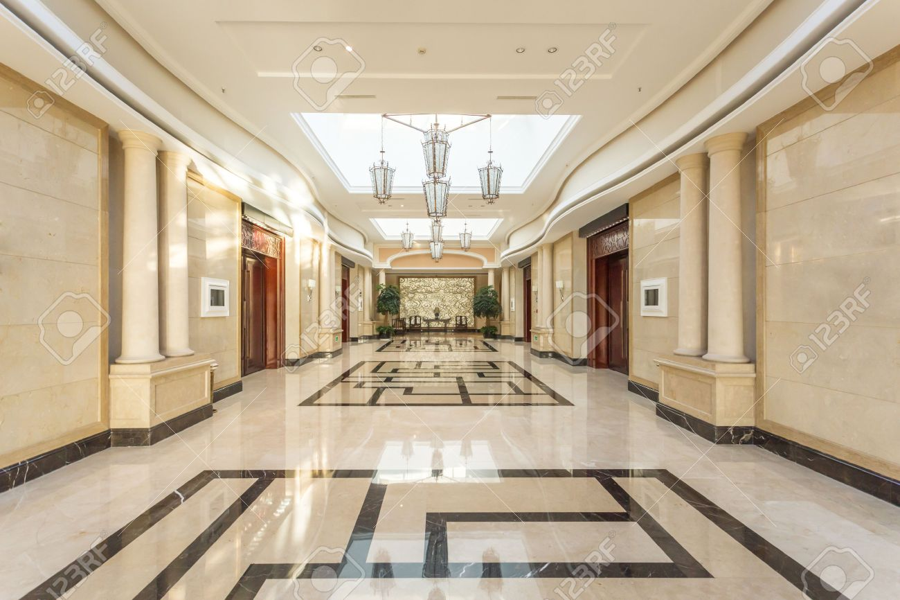 modern hotel interior and corridor stock photo, picture and