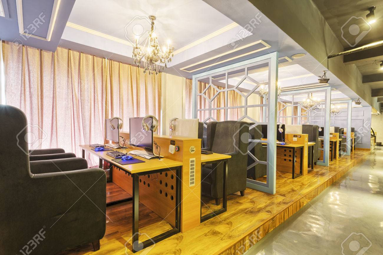 Internet Cafe Interior Stock Photo Picture And Royalty Free Image