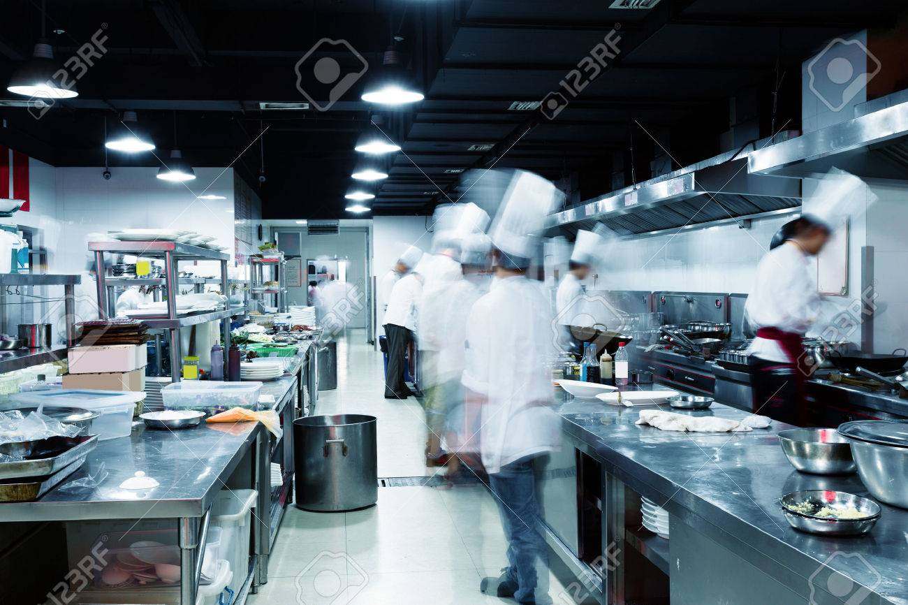 Modern Kitchen And Busy Chefs In Hotel Stock Photo, Picture And ...