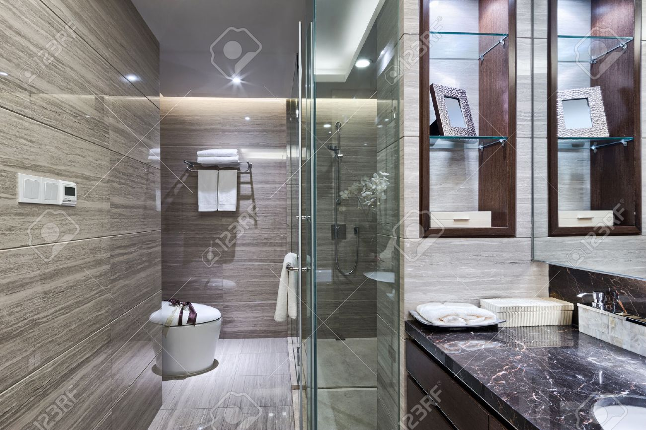 Luxury Hotel Bathroom Interior And Upscale Furniture With Modern Style Decoration Stock Photo