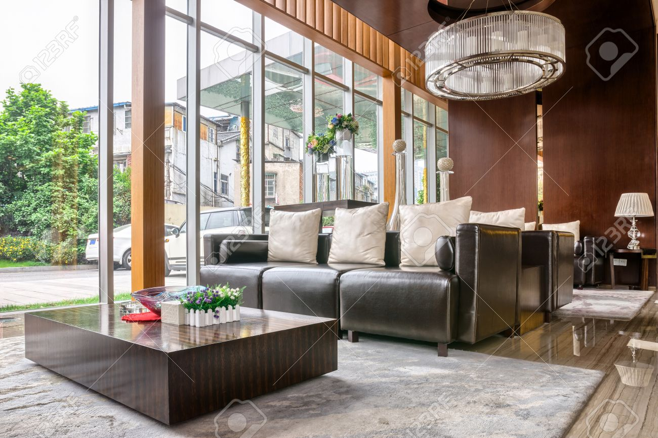 Luxury hotel lobby and furniture with modern design style interior