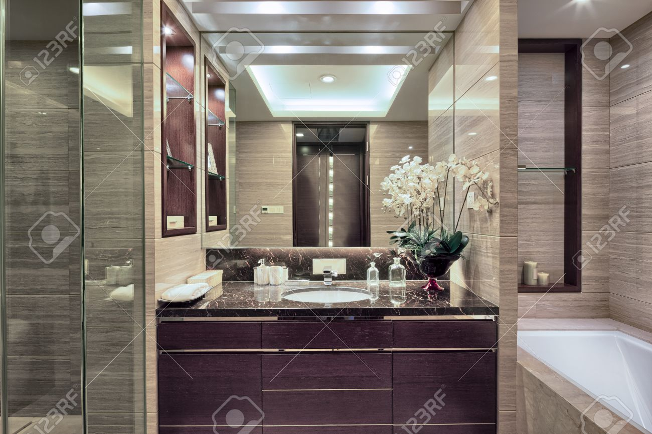 Luxury hotel bathroom interior and upscale furniture with modern style  decoration Stock Photo   41229462. Luxury Hotel Bathroom Interior And Upscale Furniture With Modern