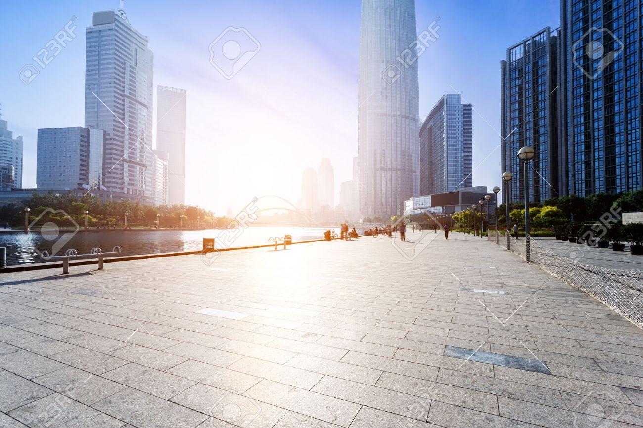 Modern skyline and empty road floor - 42373092