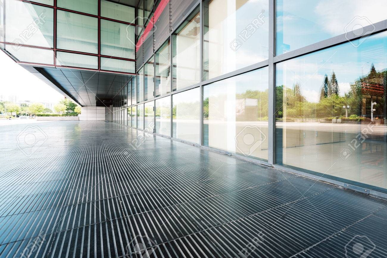 modern building glass wall and empty path - 42335971