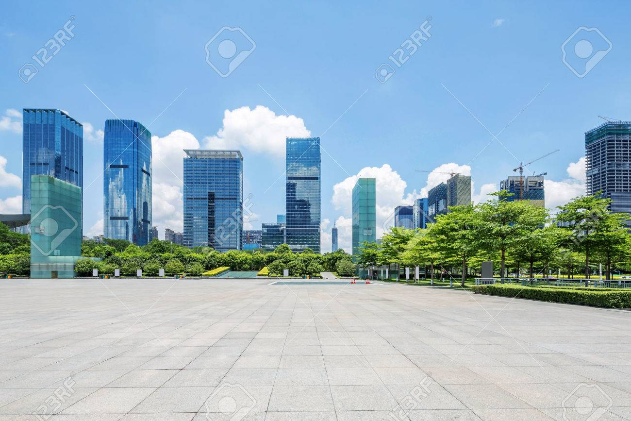 skyscrapers located in the square of Shenzhen with tress around - 45530266