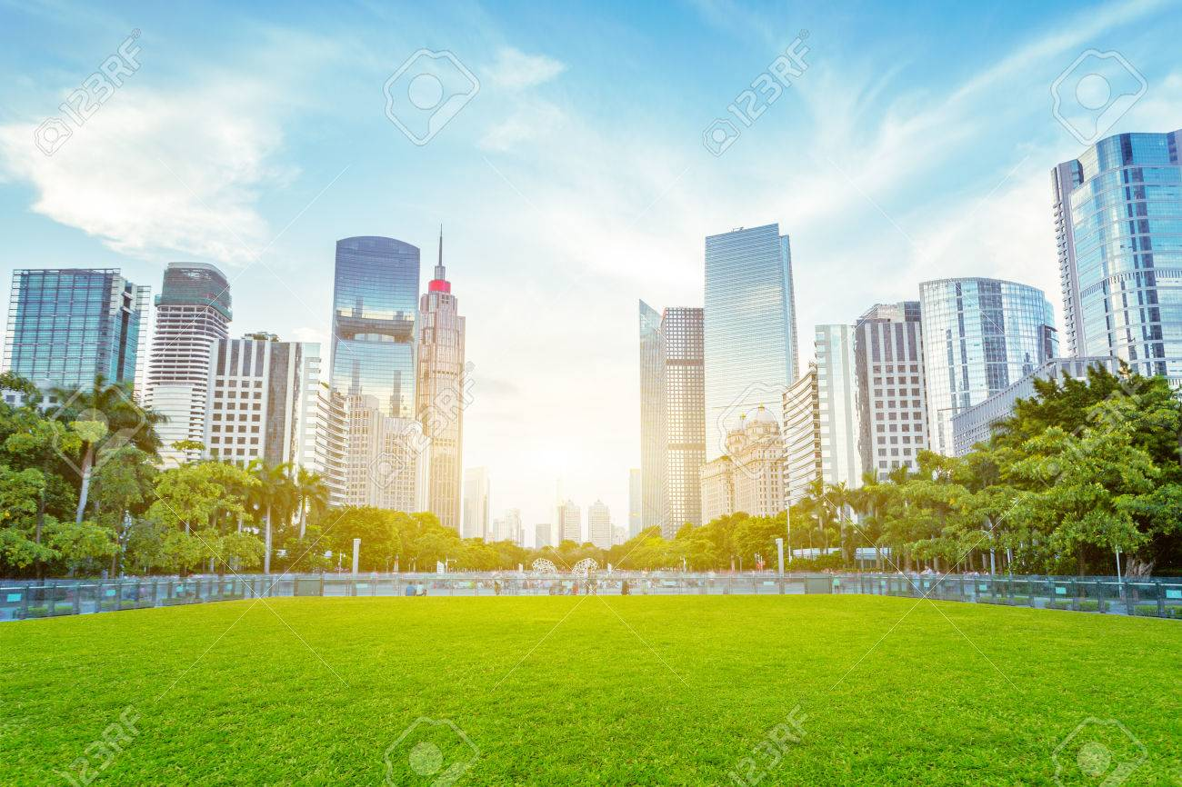 modern skyscrapers as background of a public green space - 45548671