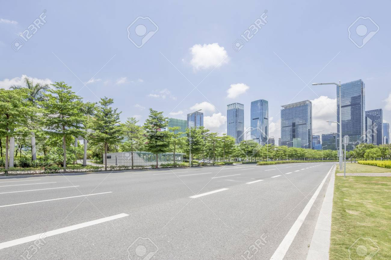 empty Asphalt road and modern city shenzhen in china - 45530467