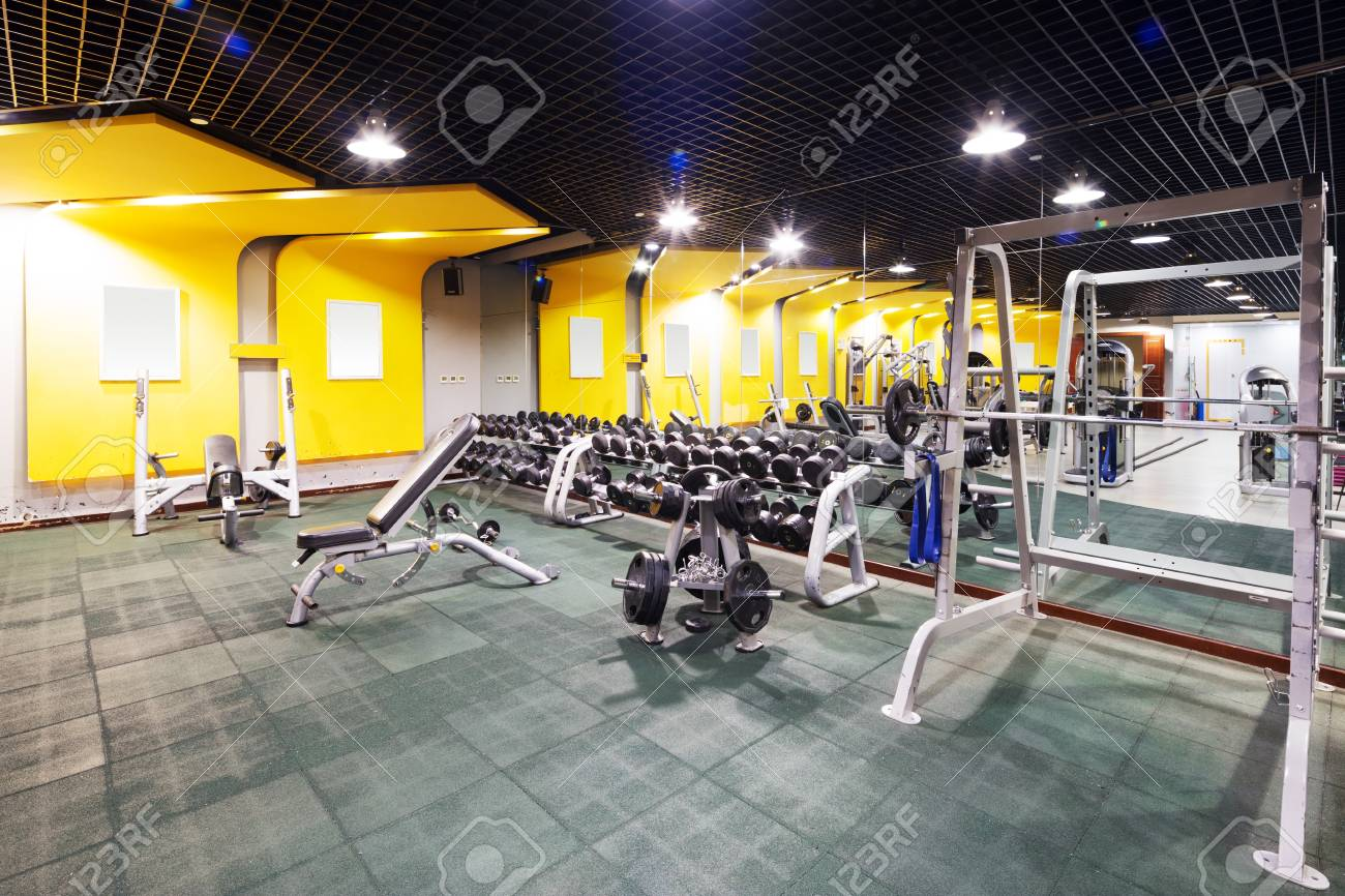 Design and equipment in modern gym stock photo picture and