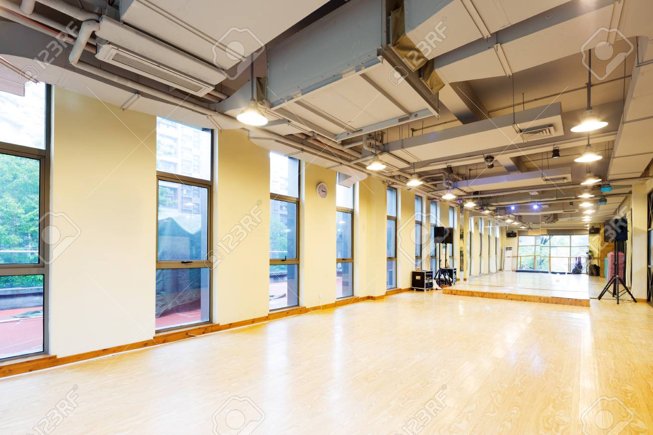 Design and decoration of empty room in modern gym stock photo