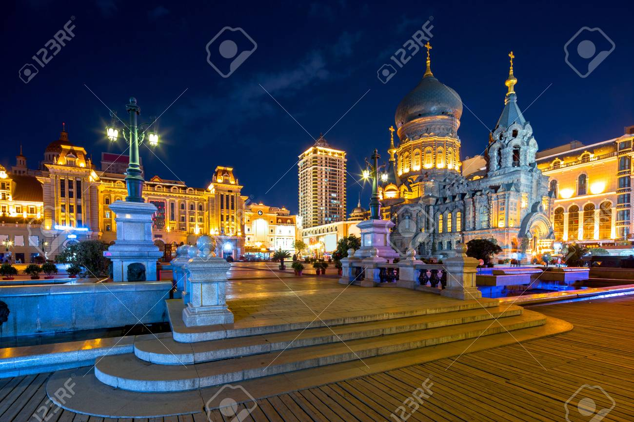 famous harbin sophia cathedral at night from square - 69779669