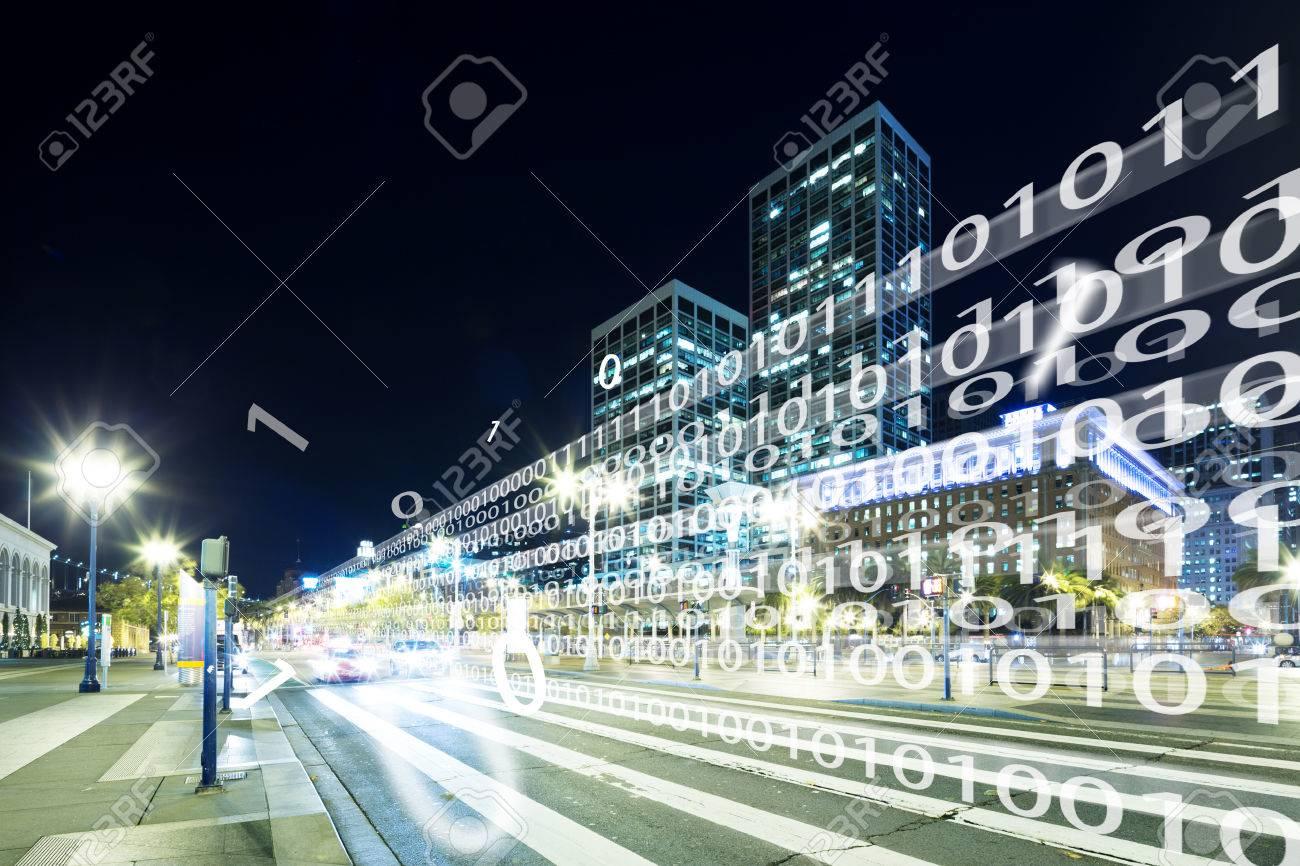 night scene of intelligence traffic on road in modern city - 78691540
