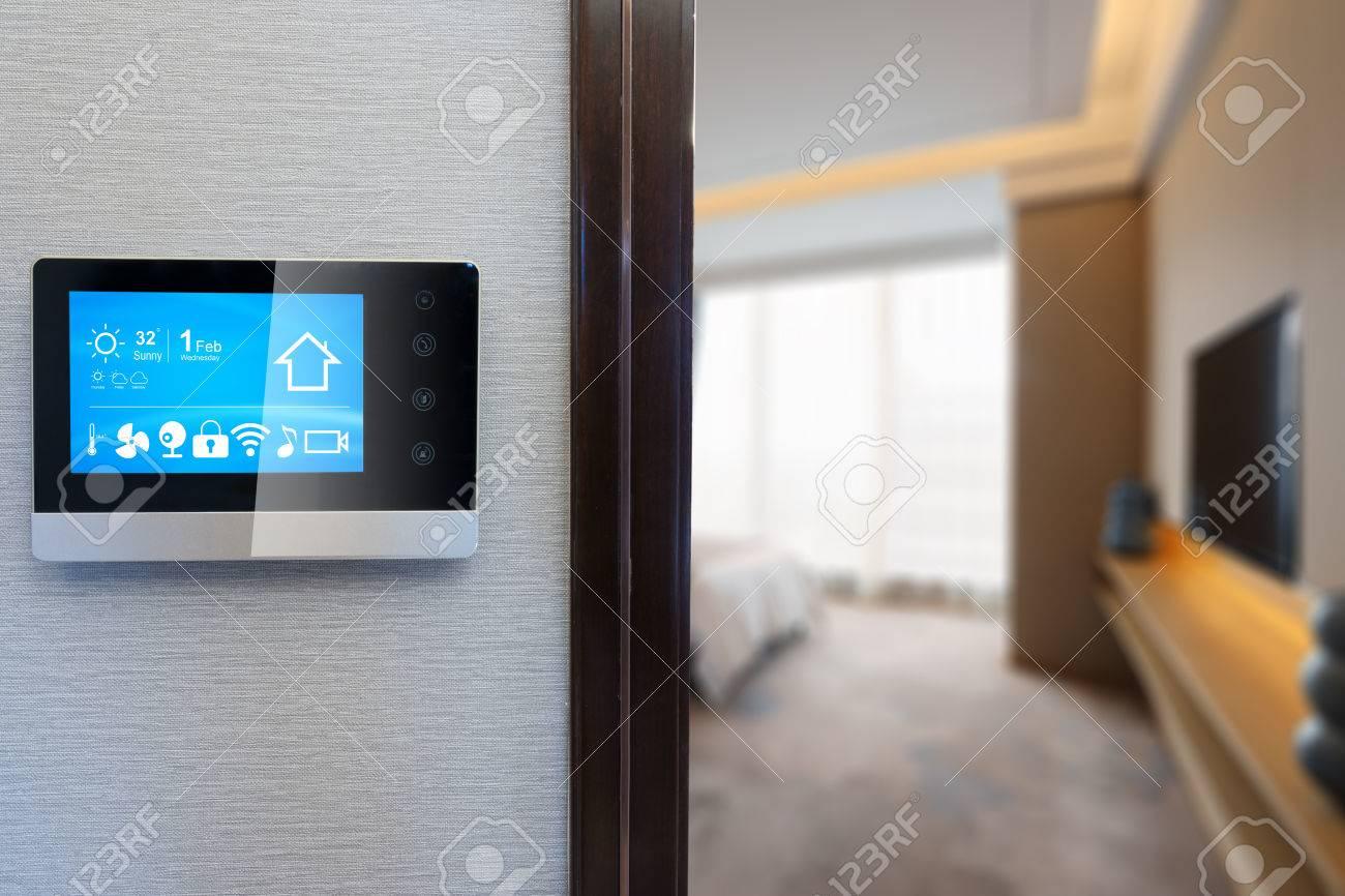 smart screen on wall in modern luxury bedroom - 81368263