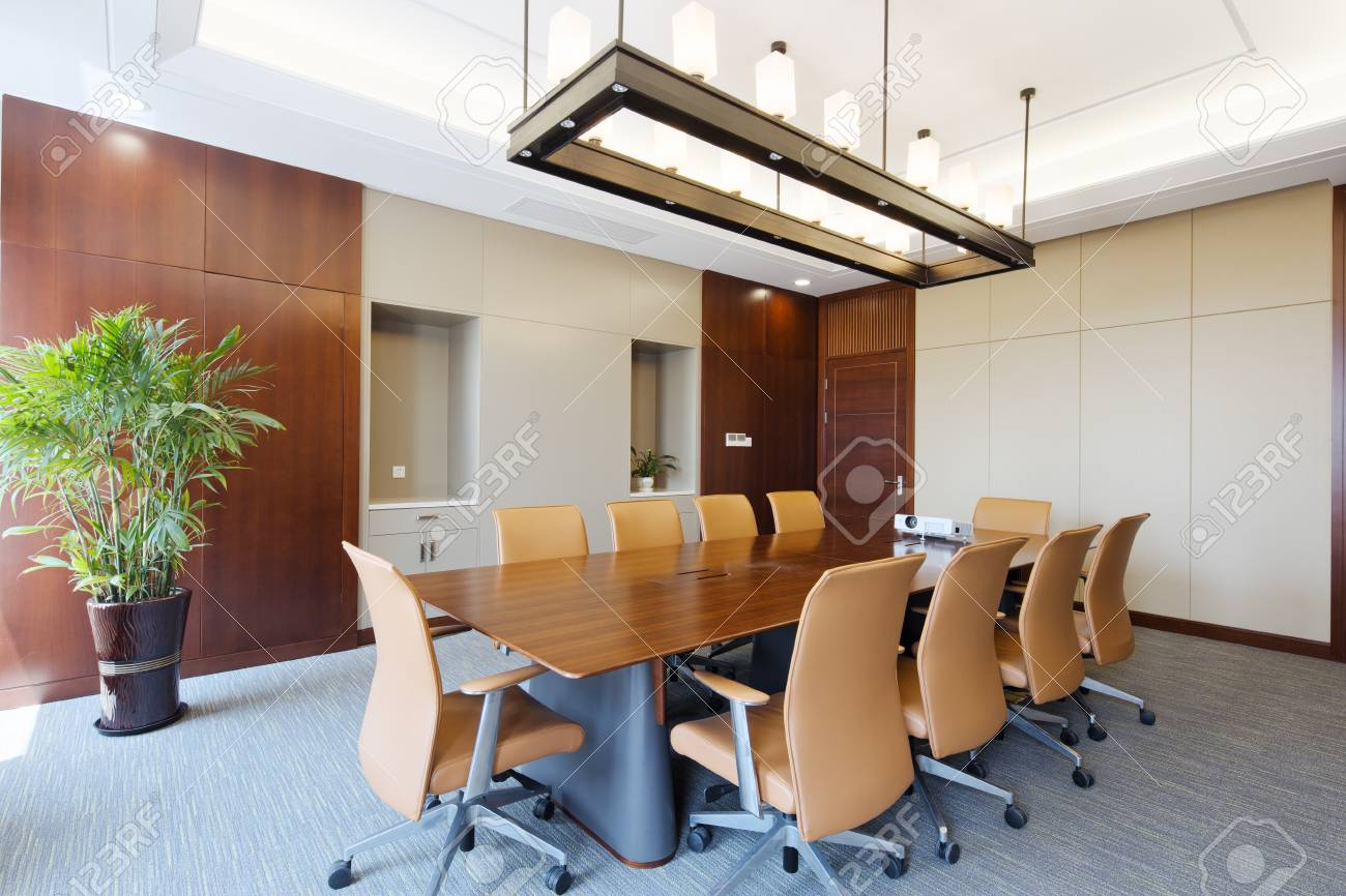 Bit Wooden Painted Table In Modern Meeting Room Stock Photo Picture