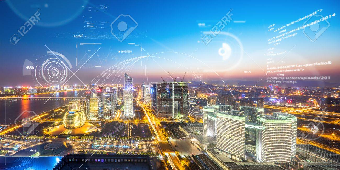 abstract communication technology above hangzhou qiang jiang new city in the future - 81852761