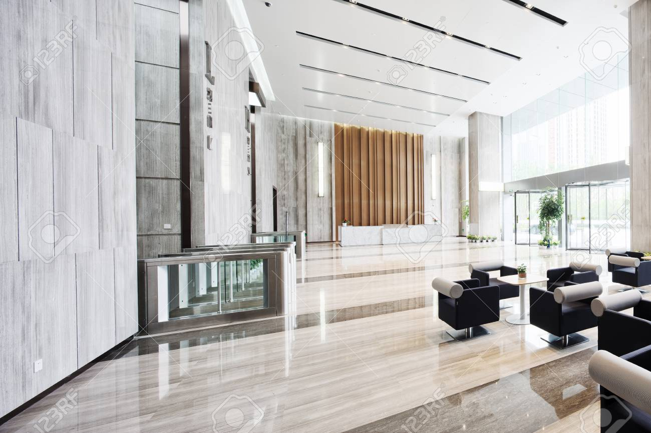 interior of modern entrance hall in modern office building stock
