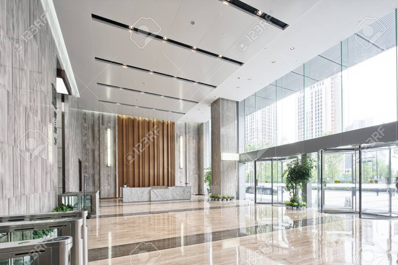 interior of modern entrance hall in modern office building - 83861671